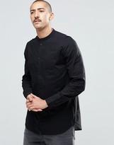 Weekday Collarless Shirt With Bib Detail in Black