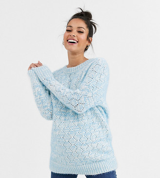 ASOS DESIGN Maternity stitch detail fluffy sweater with tie back