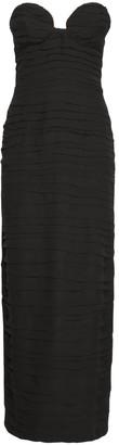 Magda Butrym Strapless Pleated Silk Long Dress
