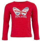 Pepe Jeans Red Long Sleeve Union Jack Butterfly Tee