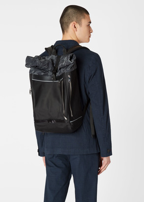Paul Smith Men's Black 'Heat Map' Screen Print Backpack With Roll-Top