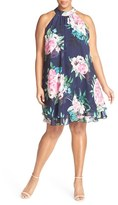Eliza J Plus Size Women's Floral Print Chiffon Halter Dress