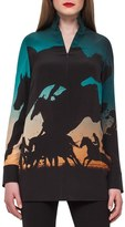 Akris Women's Turf Print Silk Tunic Blouse