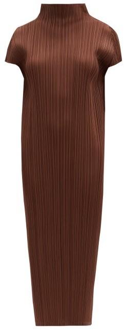 Pleats Please Issey Miyake Pleated High-neck Midi Dress - Brown