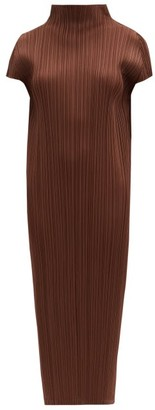 Pleats Please Issey Miyake Pleated High-neck Midi Dress - Brown