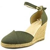 Me Too Blakely Women Open Toe Canvas Green Wedge Heel.