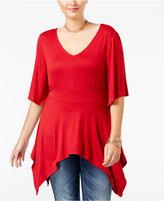 American Rag Trendy Plus Size Handkerchief-Hem Top, Only at Macy's
