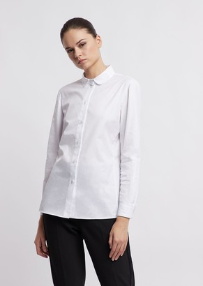 Emporio Armani Twill Blouse With Peter Pan Collar