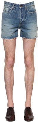 Saint Laurent Cotton Denim Shorts W/ Metal Eyelets