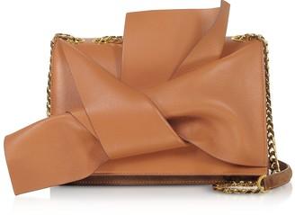N°21 Leather Medium Bow Bag w/Shoulder Strap