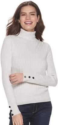 Apt. 9 Women's Transfer Rib Turtleneck Sweater