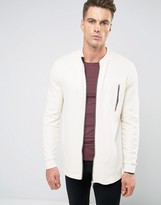 Asos Longline Jersey Bomber Jacket With Textured Panels & Zips