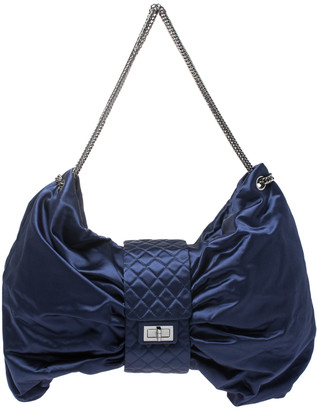 Chanel Blue Satin 2.55 Ribbon Shoulder Bag