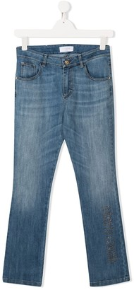 Roberto Cavalli Junior TEEN embellished logo skinny-fit jeans