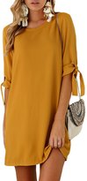 VANCOL Women's Half Sleeve Crew Neck Casual Solid Color Mini Loose Flowy T Shirt Dress (XL, )