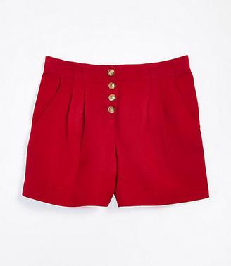 LOFT Button Front Linen Blend Shorts