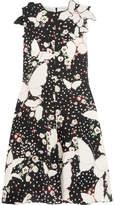 Valentino Appliquéd Printed Silk-crepe Midi Dress - Black