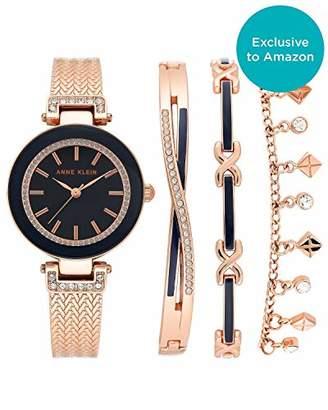 Anne Klein Women's Swarovski Crystal Accented Rose Gold-Tone Bangle Watch with Bracelet Set