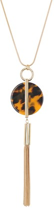trina Trina Turk Tortoiseshell Disc & Chain Fringe Pendant Necklace