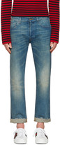 Gucci Indigo Tiger Cropped Jeans