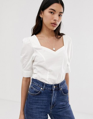 Selected cotton square neck top-White