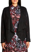 City Chic Plus Size Women's Sheer Sleeve Faux Suede Jacket