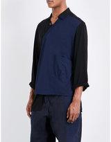Yohji Yamamoto Contrast Panel Kimono Cotton Shirt