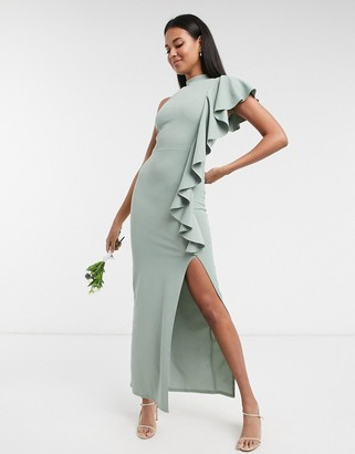 Little Mistress frill detail one-shoulder bridesmaid dress with side split in sage green