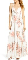 Lulus Elegantly Inclined Floral Print Wrap Gown