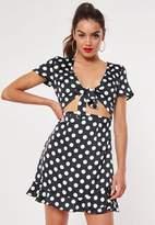 Missguided Black Satin Polka Dot Mini Dress