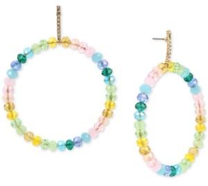 Betsey Johnson Gold-Tone Pave & Multicolor Bead Drop Hoop Earrings
