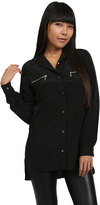 Zoa Rose Skin Zippered Pocket Button Up in Black
