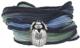 Catherine Michiels Le Petit Max Charm & Silk Bracelet Wrap with Sapphire in Silver