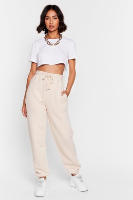 Nasty Gal Womens Who Run the World Relaxed High-Waisted Joggers - Beige - 4, Beige