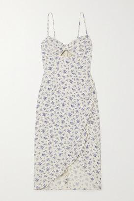 Reformation Aero Cutout Wrap-effect Floral-print Crepe Dress - Ivory