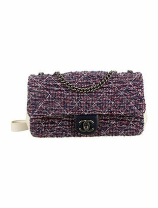 Chanel Airlines Tweed Crossbody Bag Navy