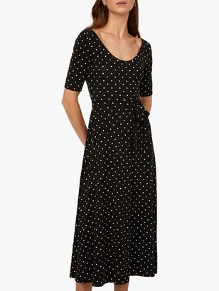Warehouse Spot Scoop Neck Midi Dress, Black