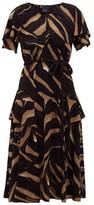 Lisa Marie Fernandez Sanja Zebra-devore Belted Crepe Midi Dress - Womens - Brown Print