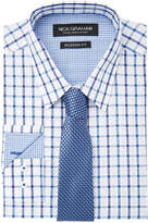 Nick Graham Men's Fitted Windowpane Dress Shirt & Textured Tie Set