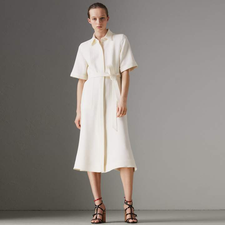 Burberry Short-sleeve Wool Silk Shirt Dress