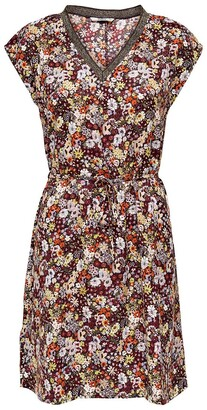 Only Flared Mini Dress in Floral Print with Short Sleeves and V-Neck