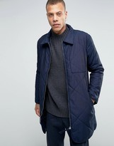 Weekday Line Quilted Longline Jacket Navy