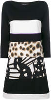 Marc Cain panelled mixed-print shift dress