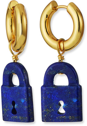 Nest Jewelry Lapis Lock Charm Huggie Hoop Earrings