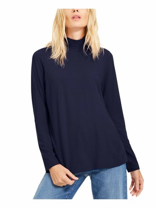 Eileen Fisher Womens Navy Solid Long Sleeve Turtle Neck Blouse Top UK Size:8