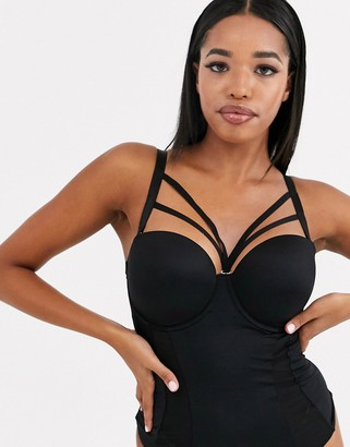 Pour Moi? Pour Moi Strapped removable strap detail padded underwired bodysuit in black