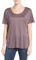 Bobeau Women's Short Sleeve One Pocket High/low Tee