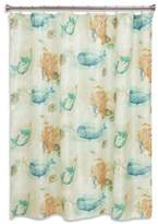 Bacova Sea Splash Shower Curtain in Blue/Coral
