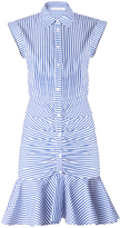 Veronica Beard Bell Button Down Ruched Shirt Dress
