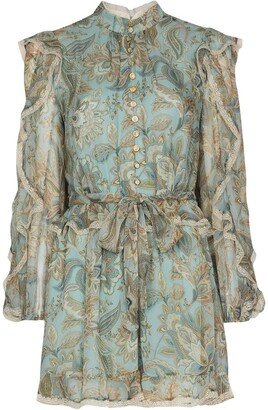 Zimmermann Floral-Print Ruffle-Detail Playsuit